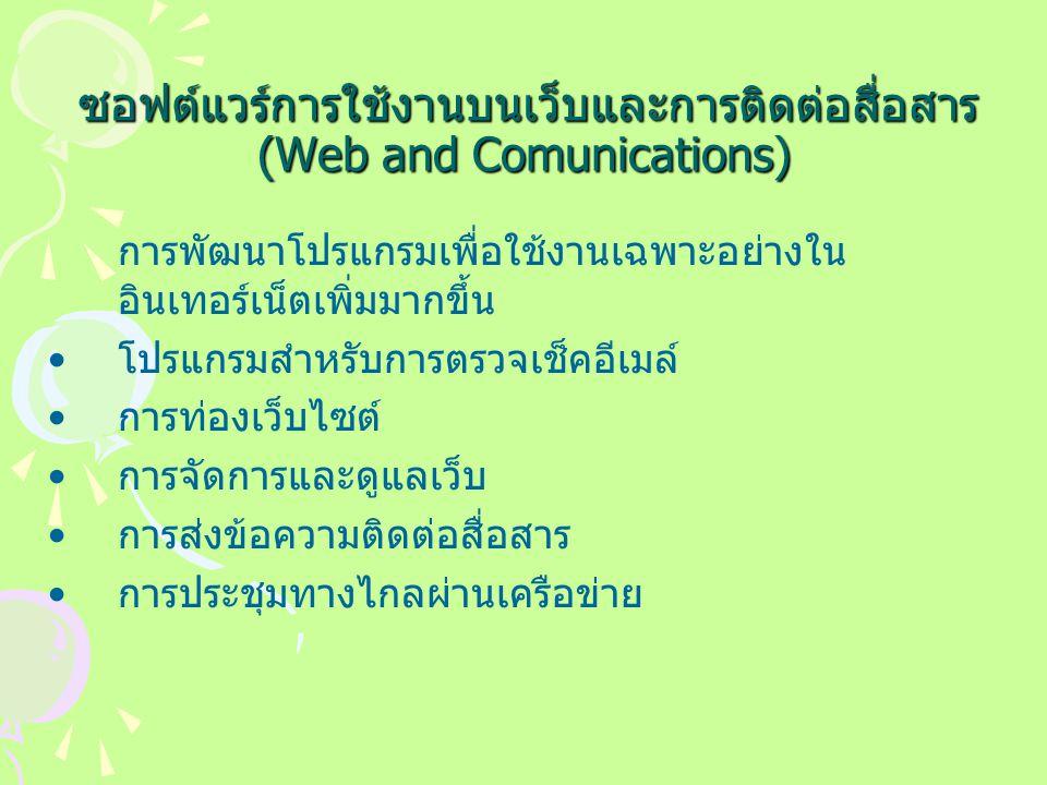 ซอฟต์แวร์การใช้งานบนเว็บและการติดต่อสื่อสาร (Web and Comunications) ซอฟต์แวร์การใช้งานบนเว็บและการติดต่อสื่อสาร (Web and Comunications) การพัฒนาโปรแกรมเพื่อใช้งานเฉพาะอย่างใน อินเทอร์เน็ตเพิ่มมากขึ้น โปรแกรมสำหรับการตรวจเช็คอีเมล์ การท่องเว็บไซต์ การจัดการและดูแลเว็บ การส่งข้อความติดต่อสื่อสาร การประชุมทางไกลผ่านเครือข่าย
