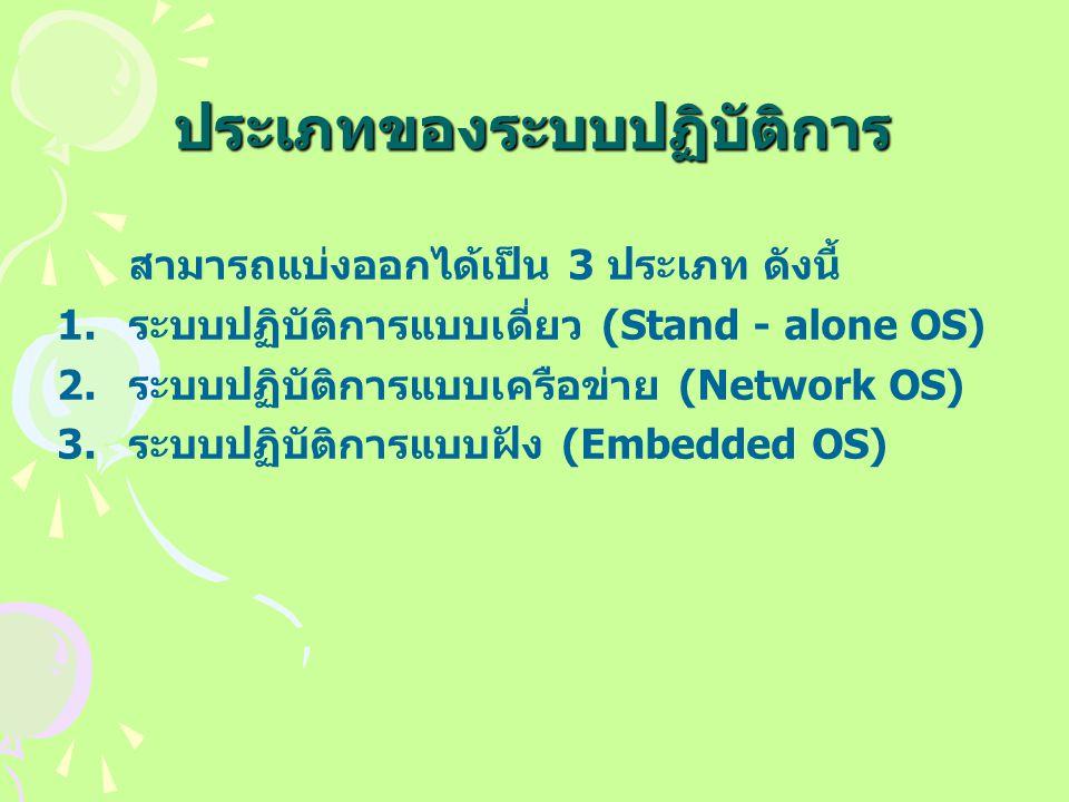 ประเภทของระบบปฏิบัติการ สามารถแบ่งออกได้เป็น 3 ประเภท ดังนี้ 1.ระบบปฏิบัติการแบบเดี่ยว (Stand - alone OS) 2.ระบบปฏิบัติการแบบเครือข่าย (Network OS) 3.ระบบปฏิบัติการแบบฝัง (Embedded OS)