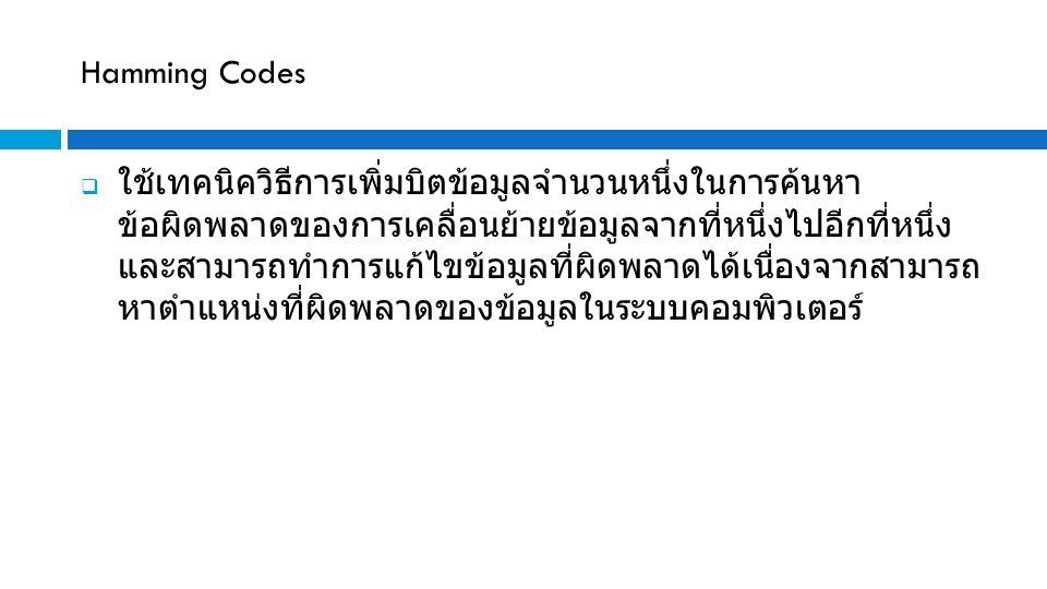 Hamming Codes  ใช้เทคนิควิธีการเพิ่มบิตข้อมูลจำนวนหนึ่งในการค้นหา ข้อผิดพลาดของการเคลื่อนย้ายข้อมูลจากที่หนึ่งไปอีกที่หนึ่ง และสามารถทำการแก้ไขข้อมูล
