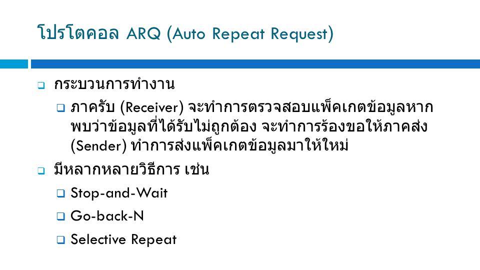 โปรโตคอล ARQ (Auto Repeat Request)  กระบวนการทำงาน  ภาครับ (Receiver) จะทำการตรวจสอบแพ็คเกตข้อมูลหาก พบว่าข้อมูลที่ได้รับไม่ถูกต้อง จะทำการร้องขอให้