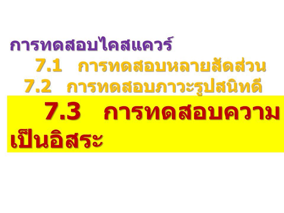 การทดสอบไคสแควร์ 7.1 การทดสอบหลายสัดส่วน 7.1 การทดสอบหลายสัดส่วน 7.2 การทดสอบภาวะรูปสนิทดี 7.3 การทดสอบความ เป็นอิสระ 7.3 การทดสอบความ เป็นอิสระ