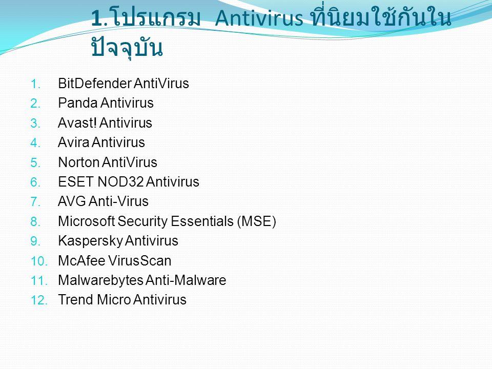 1. โปรแกรม Antivirus ที่นิยมใช้กันใน ปัจจุบัน 1. BitDefender AntiVirus 2. Panda Antivirus 3. Avast! Antivirus 4. Avira Antivirus 5. Norton AntiVirus 6