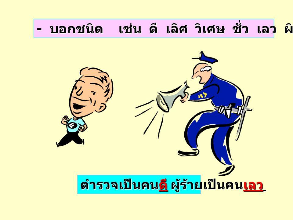 ภาษาไทยมีลักษณะพิเศษ ภาษาไทยมีลักษณะพิเศษ คือ คำเดียวกัน ทำหน้าที่ได้หลายอย่าง สำหรับคำวิเศษณ์ก็ เช่นเดียวกันอาจเป็นคำชนิดอื่นได้อีก เช่น วิเศษณ์ชี้เฉพาะ นิยมสรรพนาม วิเศษณ์ชี้เฉพาะ นี่ นั่น โน่น นี้ นั้น โน้น อาจเป็น นิยมสรรพนาม ตามที่กล่าว มาแล้ว ภาษาไทยมีลักษณะพิเศษ ภาษาไทยมีลักษณะพิเศษ คือ คำเดียวกัน ทำหน้าที่ได้หลายอย่าง สำหรับคำวิเศษณ์ก็ เช่นเดียวกันอาจเป็นคำชนิดอื่นได้อีก เช่น วิเศษณ์ชี้เฉพาะ นิยมสรรพนาม วิเศษณ์ชี้เฉพาะ นี่ นั่น โน่น นี้ นั้น โน้น อาจเป็น นิยมสรรพนาม ตามที่กล่าว มาแล้ว ข้อสังเกต ข้อสังเกต นาฬิกานี่เป็นของฉัน เป็นวิเศษณ์ชี้เฉพาะ นี่เป็นนาฬิกาของฉัน เป็นนิยมสรรพนาม