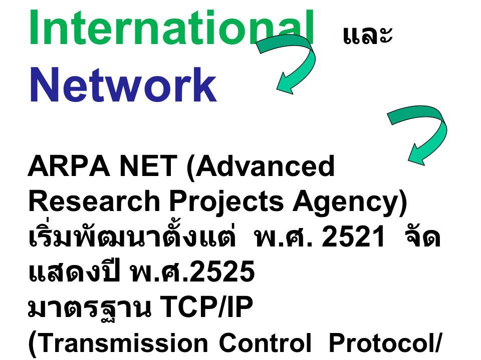 Internet มาจากคำว่า International และ Network ARPA NET (Advanced Research Projects Agency) เริ่มพัฒนาตั้งแต่ พ.