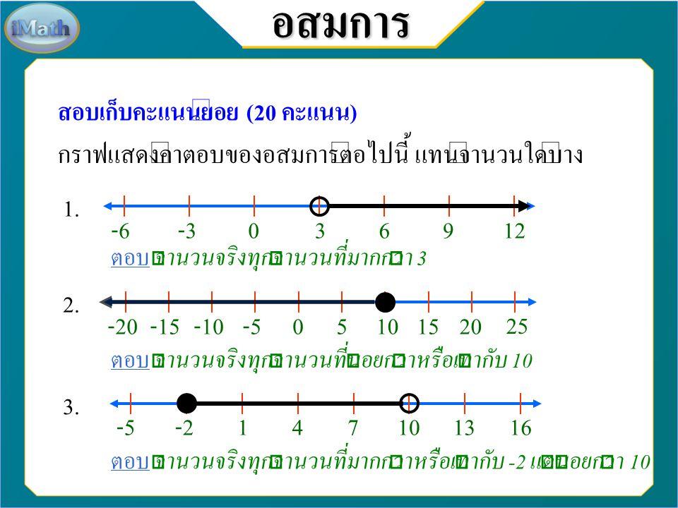 7-3-2012345689 38-3-201245679 -3-20123456879อสมการ สอบเก็บคะแนนย่อย (20 คะแนน) จงสร้างกราฟแสดงคำตอบของอสมการต่อไปนี้ 4. 5. 6.