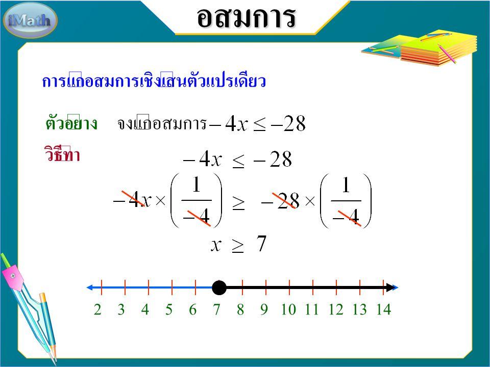 อสมการ การแก้อสมการเชิงเส้นตัวแปรเดียว ตัวอย่าง จงแก้อสมการ วิธีทำ -16-15-14-13-12-11-10-9-8-7-5-6-4