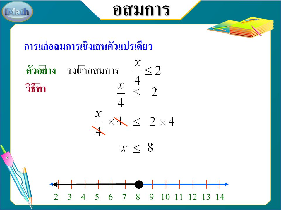 อสมการ การแก้อสมการเชิงเส้นตัวแปรเดียว ตัวอย่าง จงแก้อสมการ วิธีทำ 234567891011131214