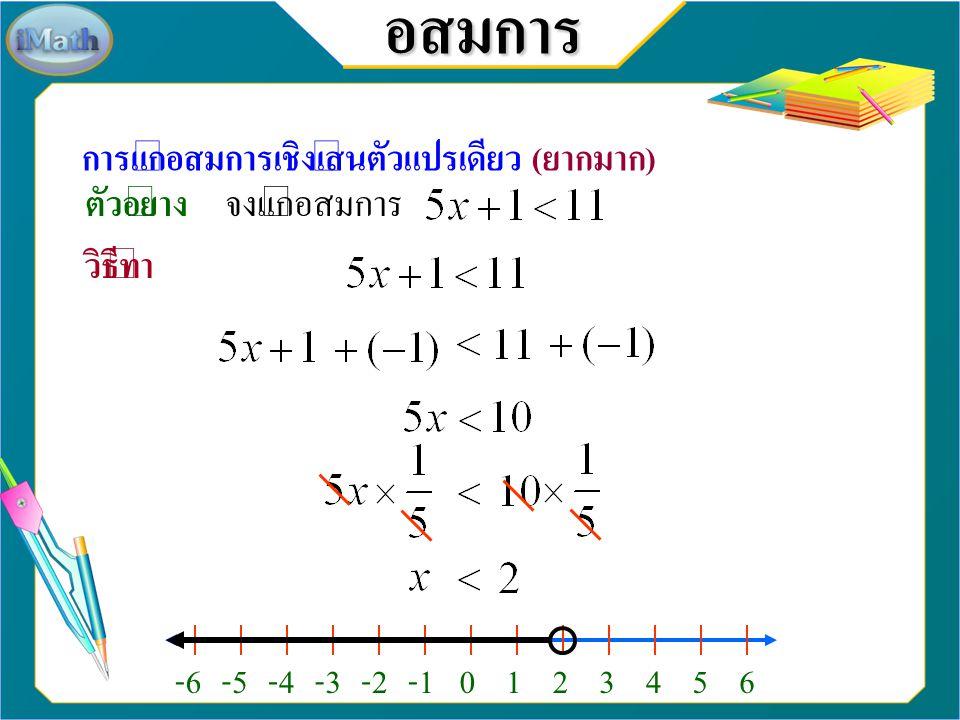 อสมการ สอบเก็บคะแนนย่อย (20 คะแนน) จงแก้อสมการต่อไปนี้ พร้อมทั้งเขียนกราฟคำตอบ 4. วิธีทำ -10-9-8-7-6-5-4-3-2102