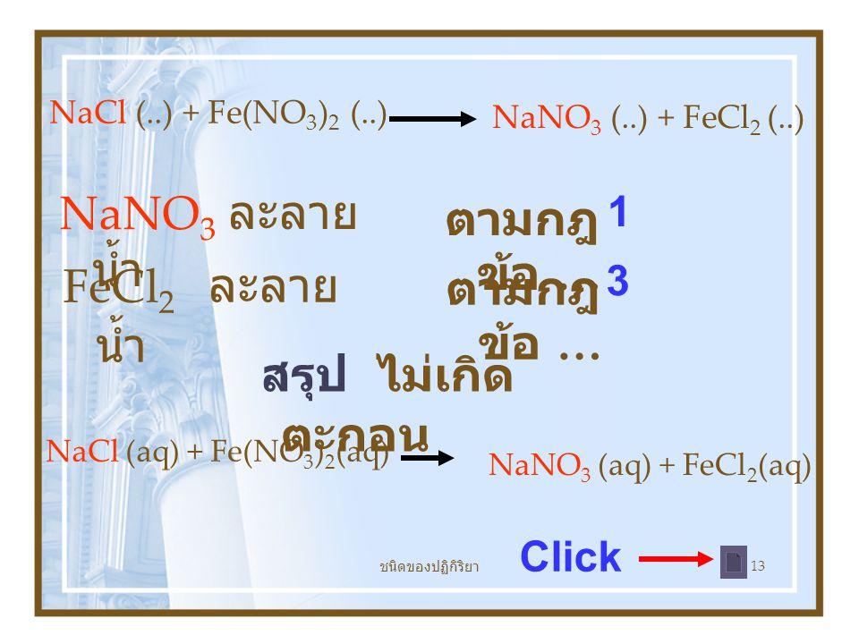 ชนิดของปฏิกิริยา 13 NaNO 3 ละลาย น้ำ ตามกฎ ข้อ … FeCl 2 ละลาย น้ำ ตามกฎ ข้อ … 1 3 สรุป ไม่เกิด ตะกอน Click NaCl (..) + Fe(NO 3 ) 2 (..) NaNO 3 (..) + FeCl 2 (..) NaCl (aq) + Fe(NO 3 ) 2 (aq) NaNO 3 (aq) + FeCl 2 (aq)