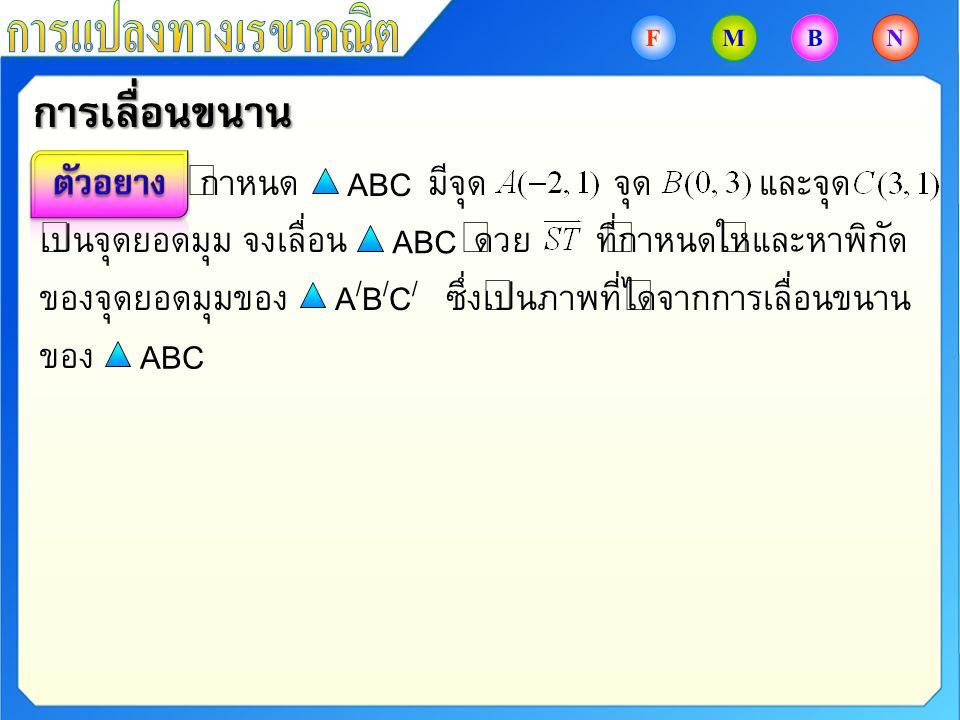 กำหนด มีจุด จุด และจุด เป็นจุดยอดมุม จงเลื่อน ด้วย ที่กำหนดให้และหาพิกัด ของจุดยอดมุมของ ซึ่งเป็นภาพที่ได้จากการเลื่อนขนาน ของ ABC A/B/C/A/B/C/ การเลื
