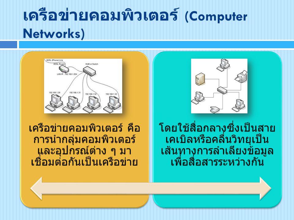 เครือข่ายคอมพิวเตอร์ (Computer Networks) เครือข่ายคอมพิวเตอร์ คือ การนำกลุ่มคอมพิวเตอร์ และอุปกรณ์ต่าง ๆ มา เชื่อมต่อกันเป็นเครือข่าย โดยใช้สื่อกลางซึ