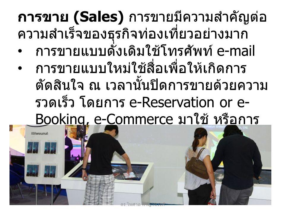 การขาย (Sales) การขายมีความสำคัญต่อ ความสำเร็จของธุรกิจท่องเที่ยวอย่างมาก การขายแบบดั่งเดิมใช้โทรศัพท์ e-mail การขายแบบใหม่ใช้สื่อเพื่อให้เกิดการ ตัดสินใจ ณ เวลานั้นปิดการขายด้วยความ รวดเร็ว โดยการ e-Reservation or e- Booking, e-Commerce มาใช้ หรือการ จัดโปรแกรมท่องเที่ยวตามความต้องการ ของลูกค้า ดร.