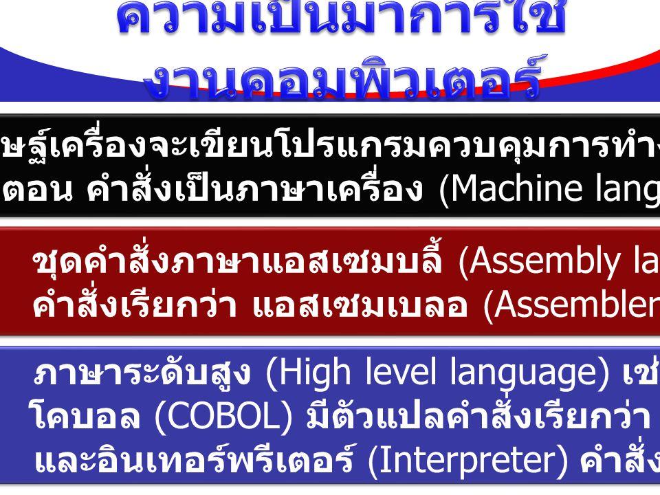 ผู้ประดิษฐ์เครื่องจะเขียนโปรแกรมควบคุมการทำงาน ทุกขั้นตอน คำสั่งเป็นภาษาเครื่อง (Machine language) ผู้ประดิษฐ์เครื่องจะเขียนโปรแกรมควบคุมการทำงาน ทุกข