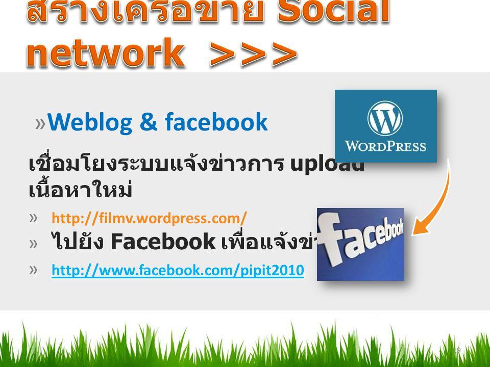 เชื่อมโยงระบบแจ้งข่าวการ upload เนื้อหาใหม่ » http://filmv.wordpress.com/ » ไปยัง Facebook เพื่อแจ้งข่าว » http://www.facebook.com/pipit2010 http://ww