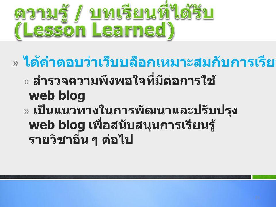 » สำรวจความพึงพอใจที่มีต่อการใช้ web blog » เป็นแนวทางในการพัฒนาและปรับปรุง web blog เพื่อสนับสนุนการเรียนรู้ รายวิชาอื่น ๆ ต่อไป 23 » ได้คำตอบว่าเว็บ