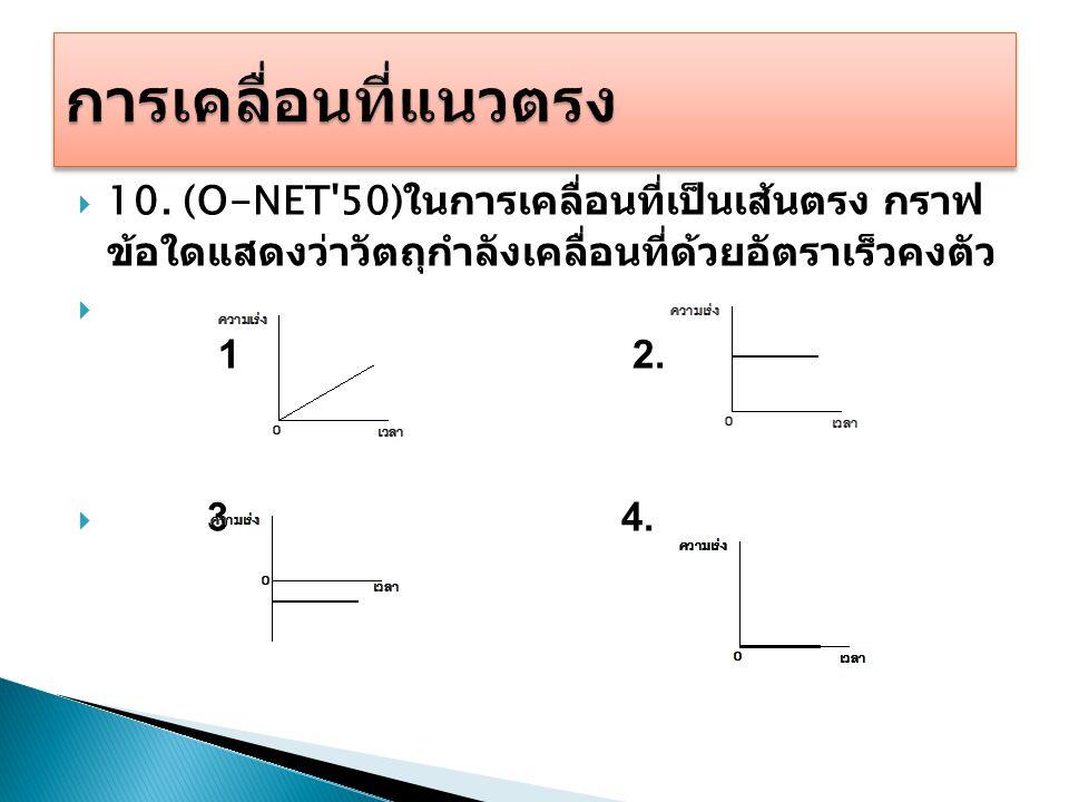  10. (O-NET'50) ในการเคลื่อนที่เป็นเส้นตรง กราฟ ข้อใดแสดงว่าวัตถุกำลังเคลื่อนที่ด้วยอัตราเร็วคงตัว  1 2.  3 4.