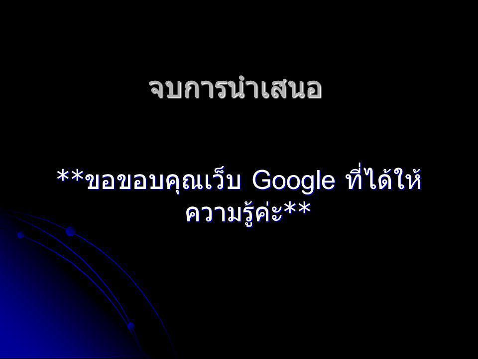 จบการนำเสนอ ** ขอขอบคุณเว็บ Google ที่ได้ให้ ความรู้ค่ะ **