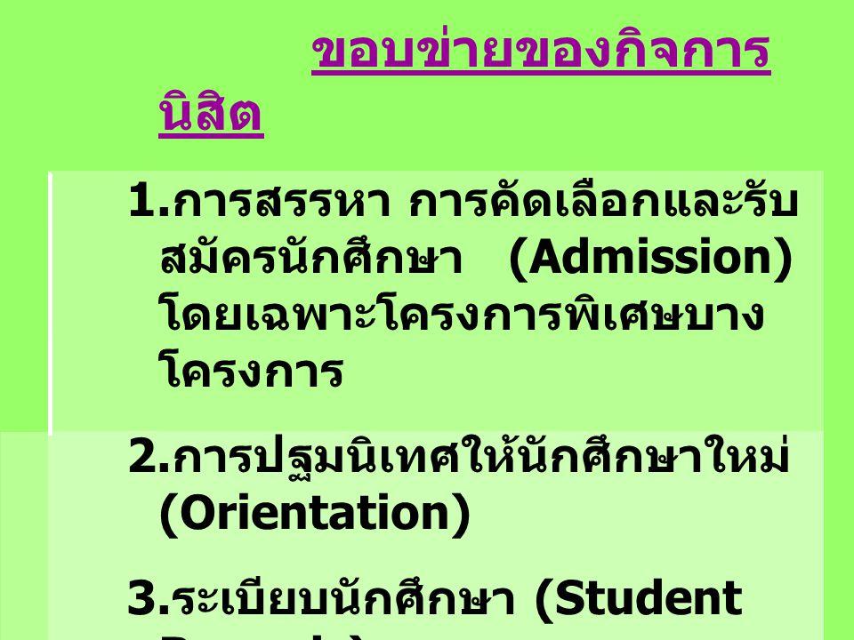 ขอบข่ายของกิจการ นิสิต 1. การสรรหา การคัดเลือกและรับ สมัครนักศึกษา (Admission) โดยเฉพาะโครงการพิเศษบาง โครงการ 2. การปฐมนิเทศให้นักศึกษาใหม่ (Orientat