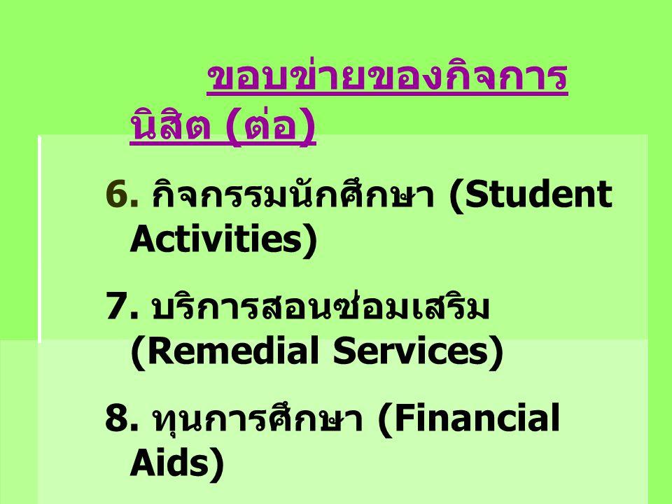 ขอบข่ายของกิจการ นิสิต ( ต่อ ) 6. กิจกรรมนักศึกษา (Student Activities) 7. บริการสอนซ่อมเสริม (Remedial Services) 8. ทุนการศึกษา (Financial Aids) 9. บร