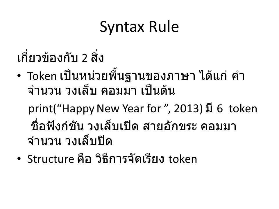 "Syntax Rule เกี่ยวข้องกับ 2 สิ่ง Token เป็นหน่วยพื้นฐานของภาษา ได้แก่ คำ จำนวน วงเล็บ คอมมา เป็นต้น print(""Happy New Year for "", 2013) มี 6 token ชื่อ"