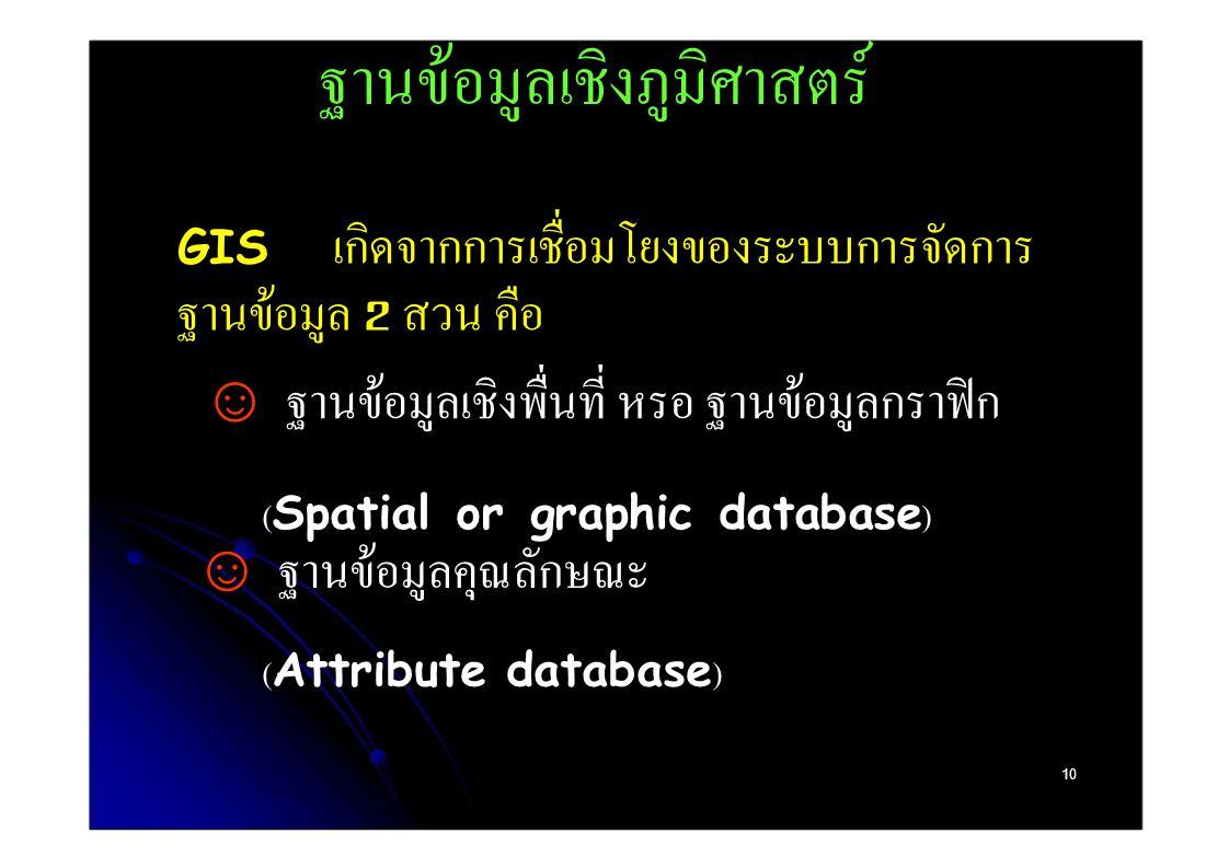 ฐานข้อมูลเชิงภูมิศาสตร์ GIS เกิดจากการเชื่อมโยงของระบบการจัดการ ฐานข้อมูล 2 สวน คือ  ฐานข้อมูลเชิงพื่นที่ หรอ ฐานข้อมูลกราฟิก (Spatial or graphic database)  ฐานข้อมูลคุณลักษณะ (Attribute database) 10