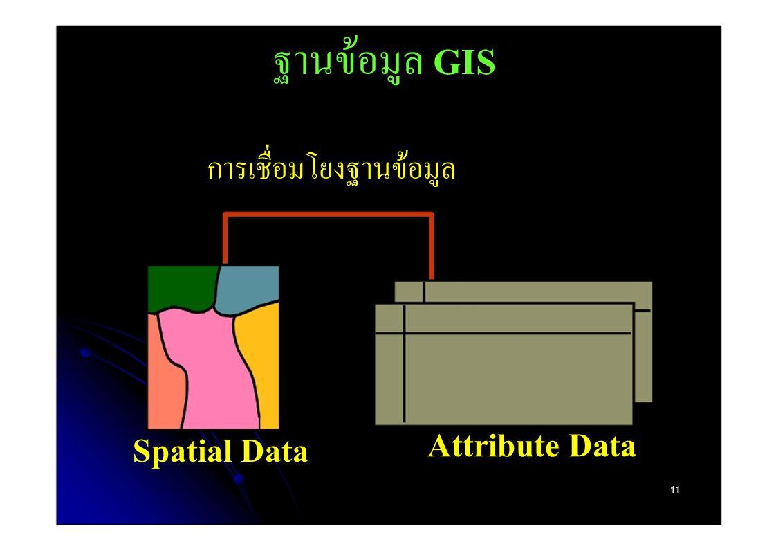 ฐานข้อมูล GIS การเชื่อมโยงฐานข้อมูล Attribute Data Spatial Data 11
