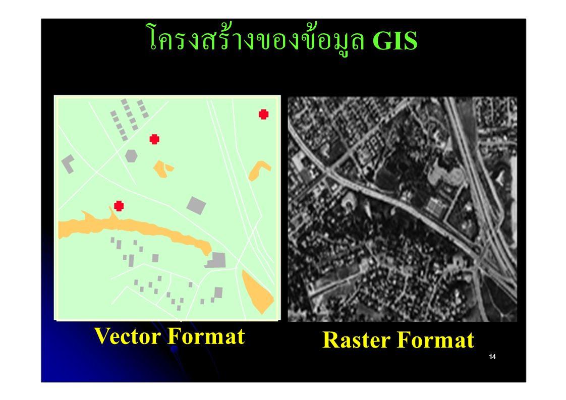 โครงสร้างของข้อมูล GIS Vector Format Raster Format 14