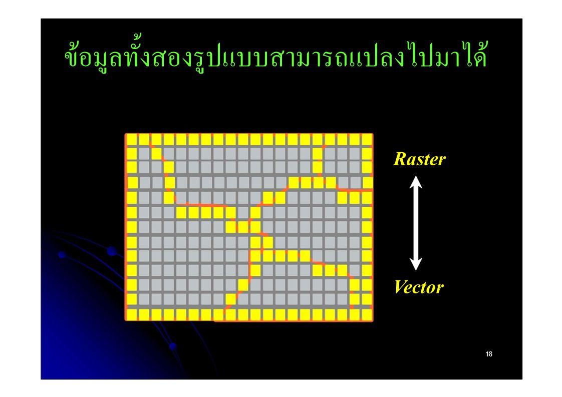 ข้อมูลทั้งสองรูปแบบสามารถแปลงไปมาได้ Raster Vector 18