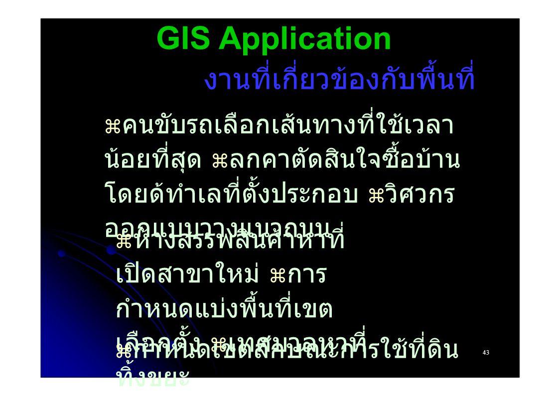 GIS Application งานที่เกี่ยวข้องกับพื้นที่  คนขับรถเลือกเส้นทางที่ใช้เวลา น้อยที่สุด  ลกคาตัดสินใจซื้อบ้าน โดยด้ทำเลที่ตั้งประกอบ  วิศวกร ออกแบบวางแนวถนน  ห้างสรรพสินค้าหาที่ เปิดสาขาใหม่  การ กำหนดแบ่งพื้นที่เขต เลือกตั้ง  เทศบาลหาที่ ทิ้งขยะ 43  กำหนดเขตลักษณะการใช้ที่ดิน