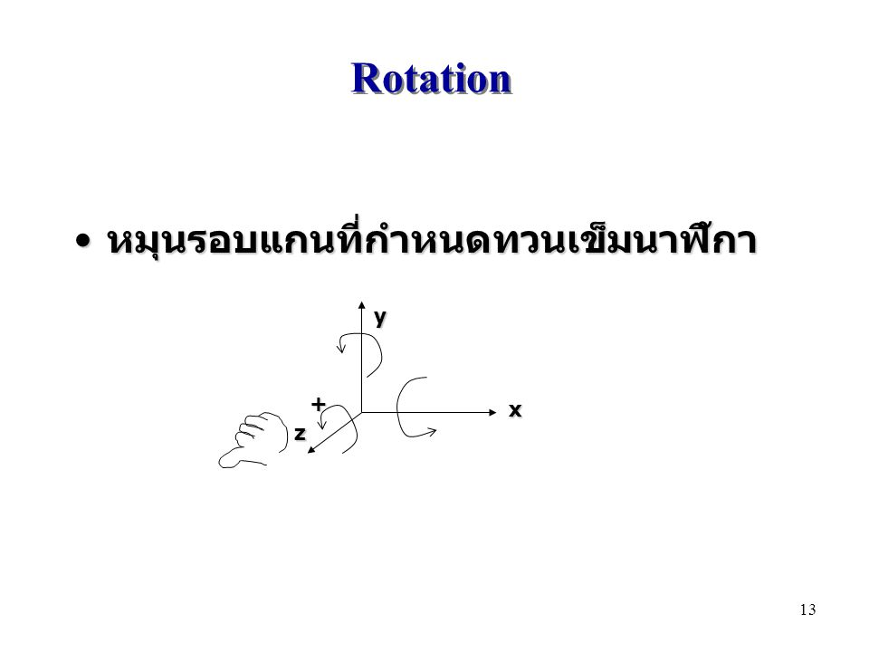 Rotation หมุนรอบแกนที่กำหนดทวนเข็มนาฬิกา หมุนรอบแกนที่กำหนดทวนเข็มนาฬิกา xyz + 13