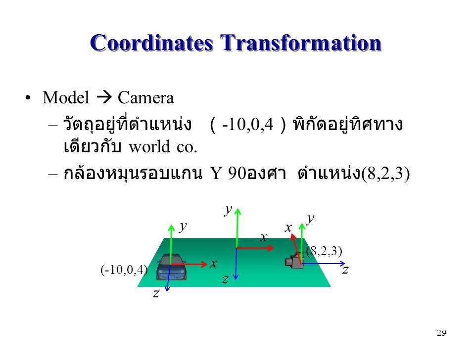 Coordinates Transformation Model  Camera – วัตถุอยู่ที่ตำแหน่ง ( -10,0,4 )พิกัดอยู่ทิศทาง เดียวกับ world co. – กล้องหมุนรอบแกน Y 90 องศา ตำแหน่ง (8,2