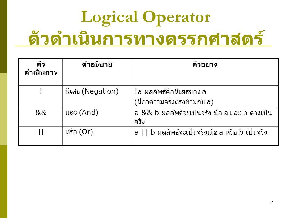 13 Logical Operator ตัวดำเนินการทางตรรกศาสตร์ ตัว ดำเนินการ คำอธิบายตัวอย่าง ! นิเสธ (Negation) ! a ผลลัพธ์คือนิเสธของ a ( มีค่าความจริงตรงข้ามกับ a)