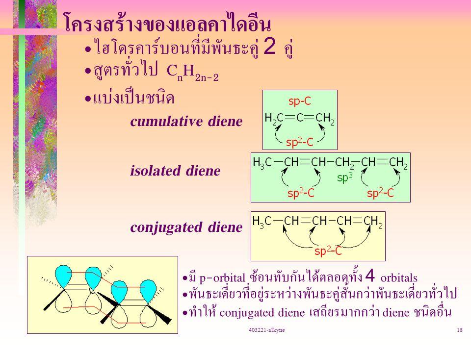 403221-alkyne18 โครงสร้างของแอลคาไดอีน ไฮโดรคาร์บอนที่มีพันธะคู่ 2 คู่ สูตรทั่วไป C n H 2n-2 แบ่งเป็นชนิด cumulative diene isolated diene conjugated d