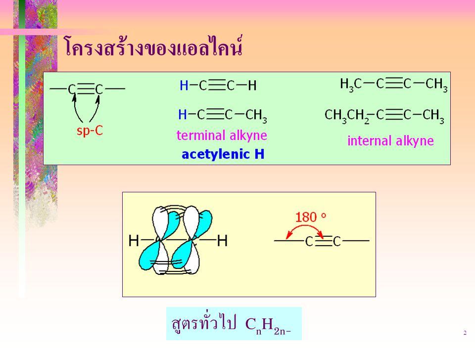 403221-alkyne2 โครงสร้างของแอลไคน์ สูตรทั่วไป C n H 2n- 2