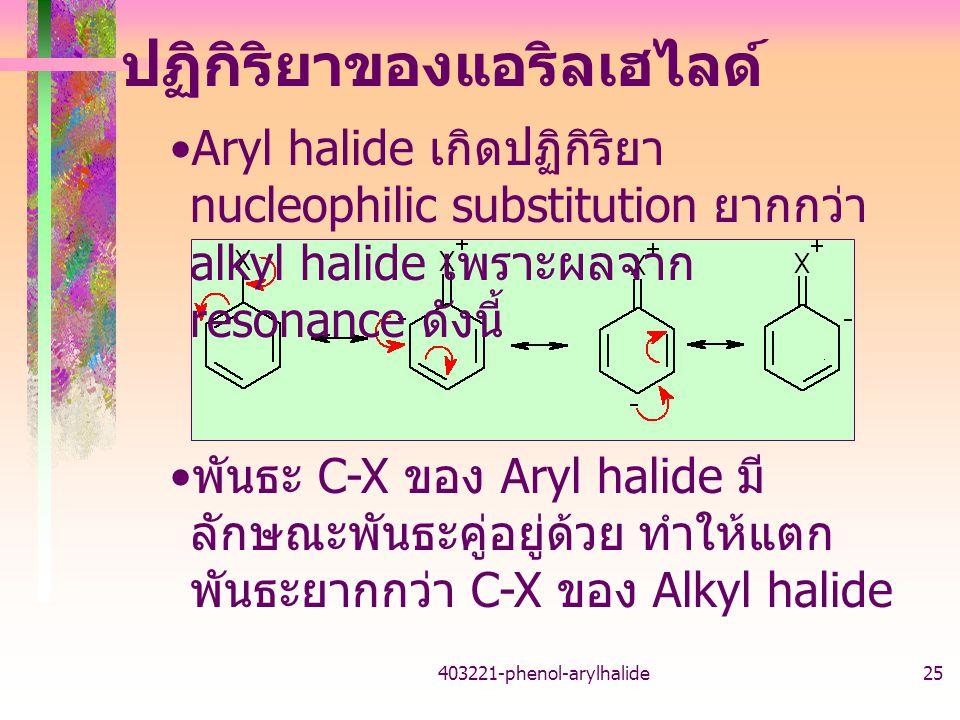403221-phenol-arylhalide25 ปฏิกิริยาของแอริลเฮไลด์ Aryl halide เกิดปฏิกิริยา nucleophilic substitution ยากกว่า alkyl halide เพราะผลจาก resonance ดังนี้ พันธะ C-X ของ Aryl halide มี ลักษณะพันธะคู่อยู่ด้วย ทำให้แตก พันธะยากกว่า C-X ของ Alkyl halide