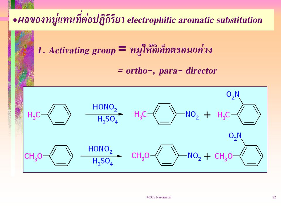 403221-aromatic22 ผลของหมู่แทนที่ต่อปฏิกิริยา electrophilic aromatic substitution 1.