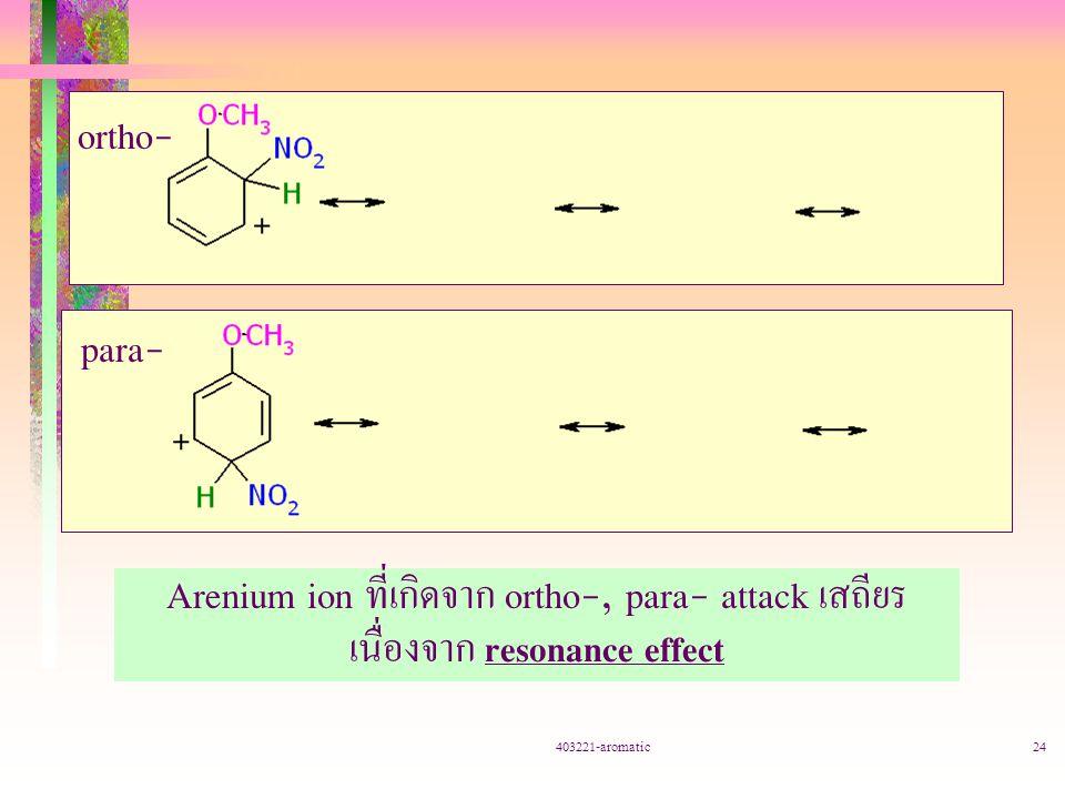 403221-aromatic24 ortho- para- Arenium ion ที่เกิดจาก ortho-, para- attack เสถียร เนื่องจาก resonance effect