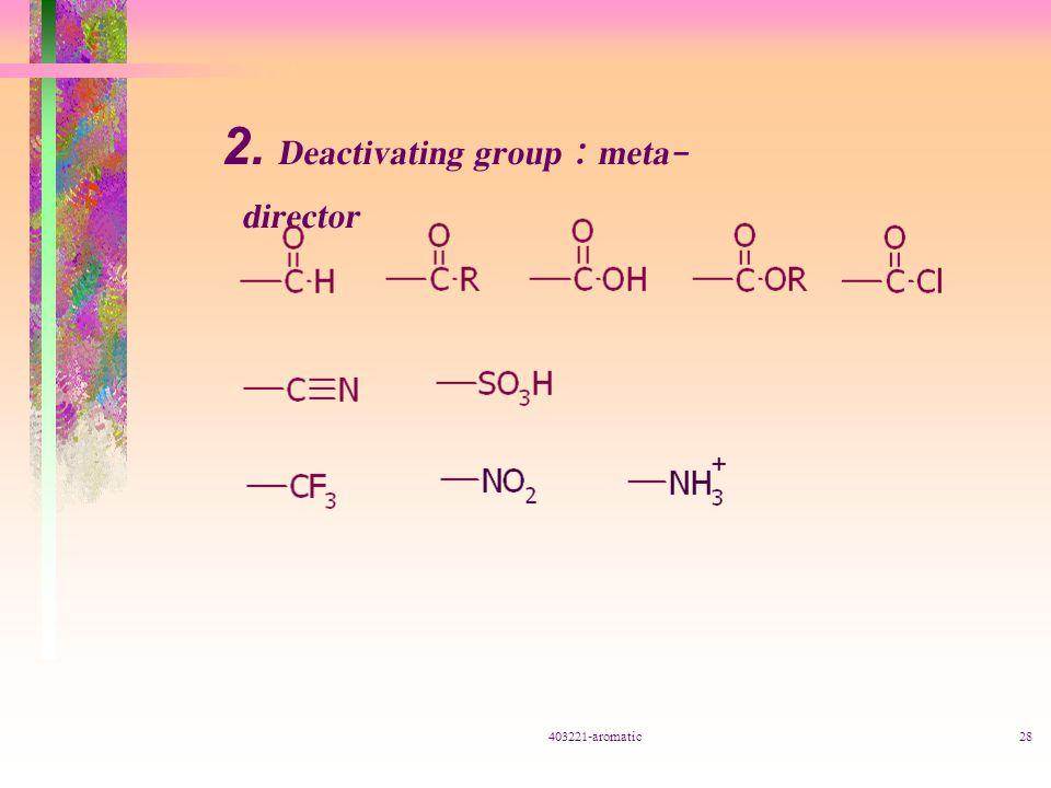 403221-aromatic28 2. Deactivating group : meta- director