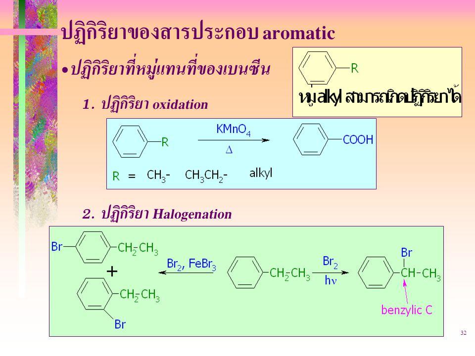 403221-aromatic32 ปฏิกิริยาของสารประกอบ aromatic ปฏิกิริยาที่หมู่แทนที่ของเบนซีน 1.