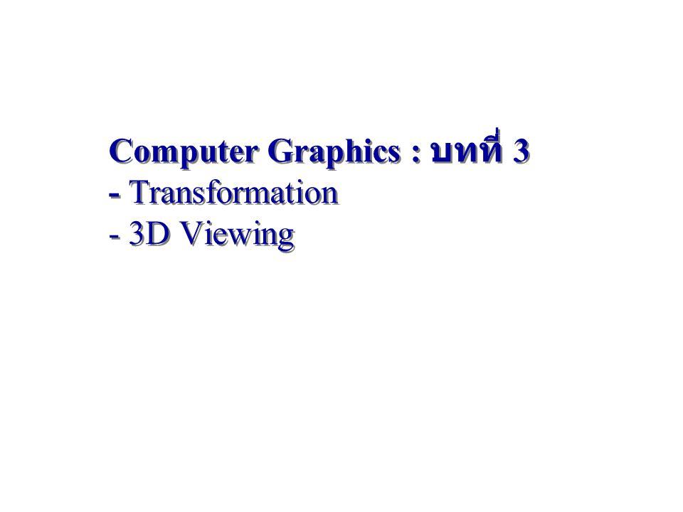 Parallel Projection (2) OpenGL: ทุกอย่าง  canonical view volumeOpenGL: ทุกอย่าง  canonical view volume (-1, -1, 1) (1, 1, -1) Canonical View Volume glOrtho(xmin, xmax, ymin, ymax, near, far) (xmin, ymin, near) (xmax, ymax, far) 62