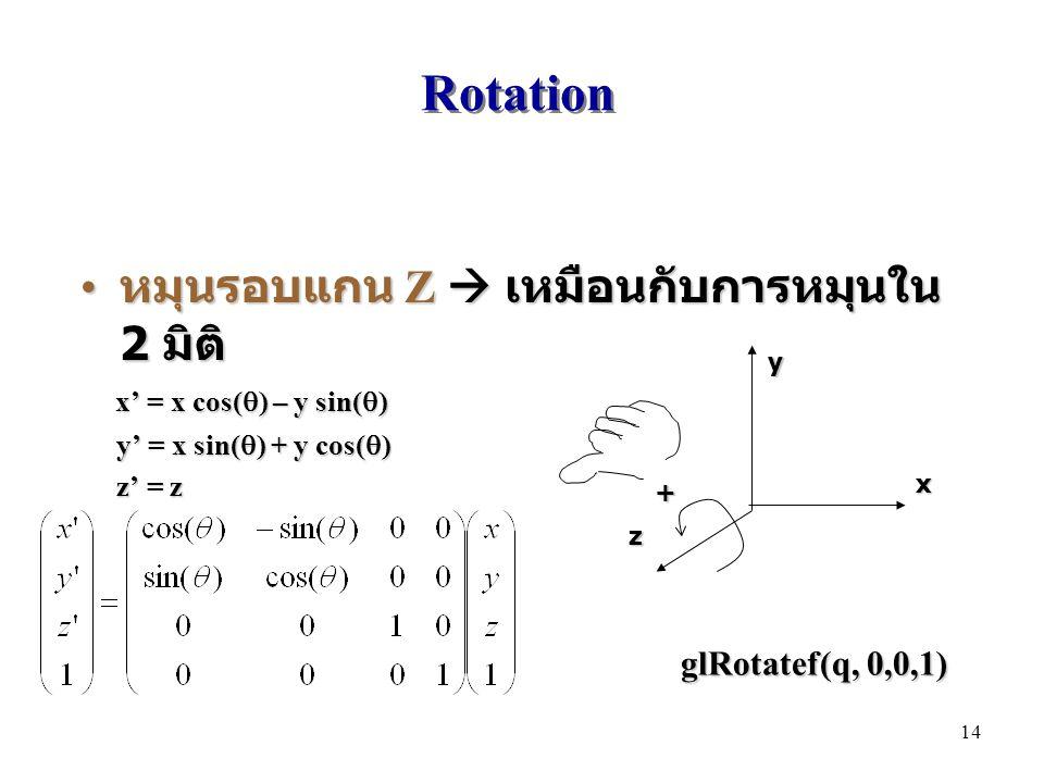 Rotation หมุนรอบแกน Z  เหมือนกับการหมุนใน 2 มิติ หมุนรอบแกน Z  เหมือนกับการหมุนใน 2 มิติ x' = x cos(  ) – y sin(  ) x' = x cos(  ) – y sin(  ) y' = x sin(  ) + y cos(  ) y' = x sin(  ) + y cos(  ) z' = z z' = z x y z + glRotatef(q, 0,0,1) 14