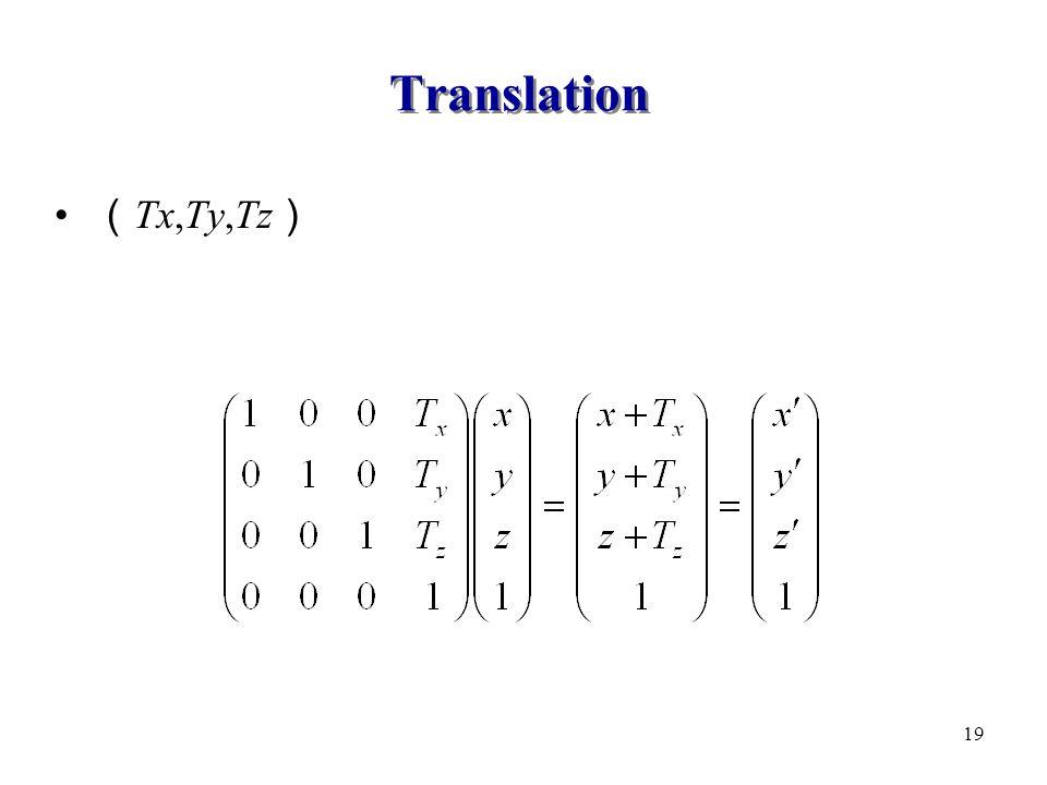 Translation ( Tx,Ty,Tz ) 19