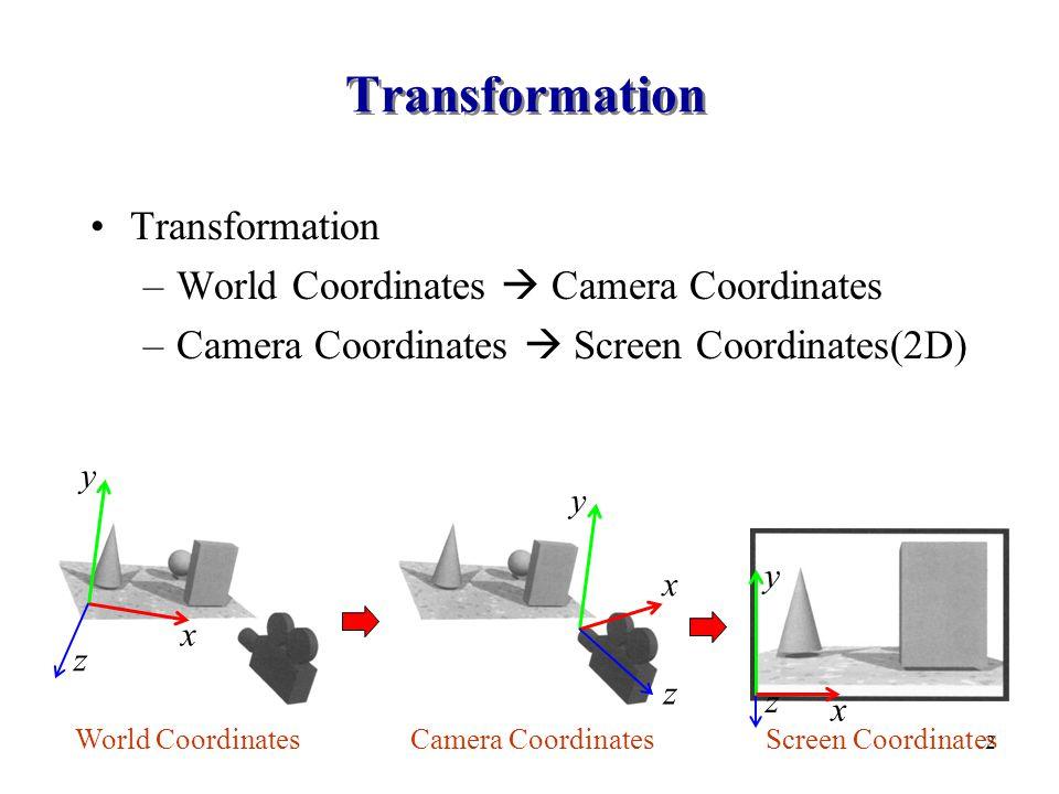 Transformation –World Coordinates  Camera Coordinates –Camera Coordinates  Screen Coordinates(2D) x y z x y z x y z World CoordinatesCamera CoordinatesScreen Coordinates 2