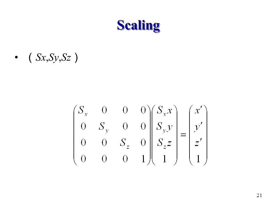 Scaling ( Sx,Sy,Sz ) 21