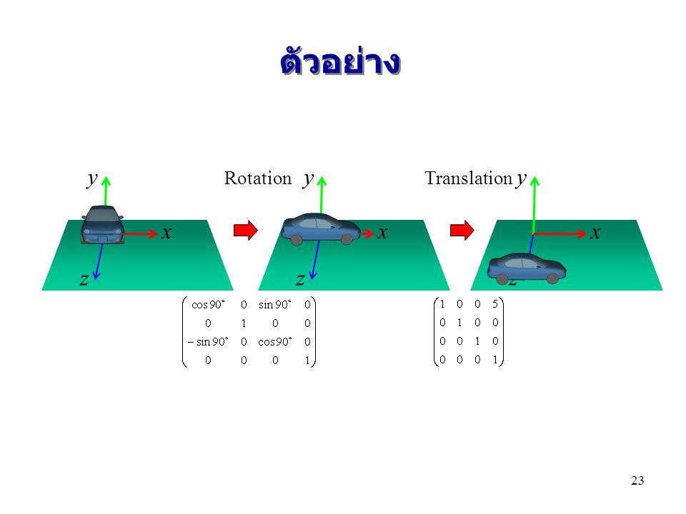 ตัวอย่าง x y z x y z x y z RotationTranslation 23