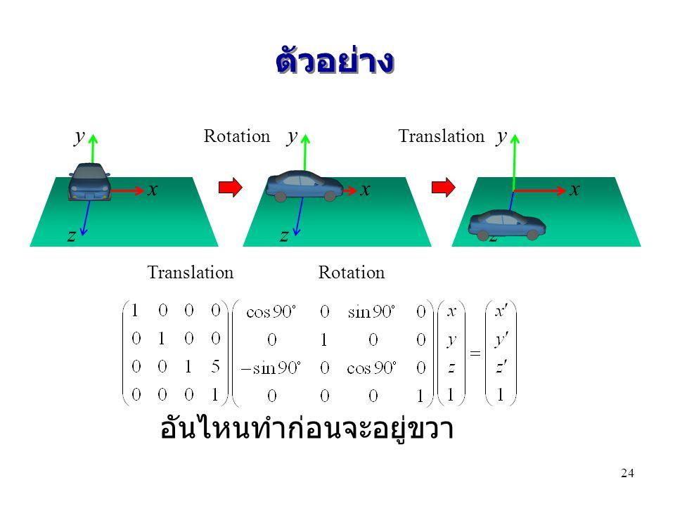 ตัวอย่าง x y z x y z x y z RotationTranslation Rotation อันไหนทำก่อนจะอยู่ขวา 24