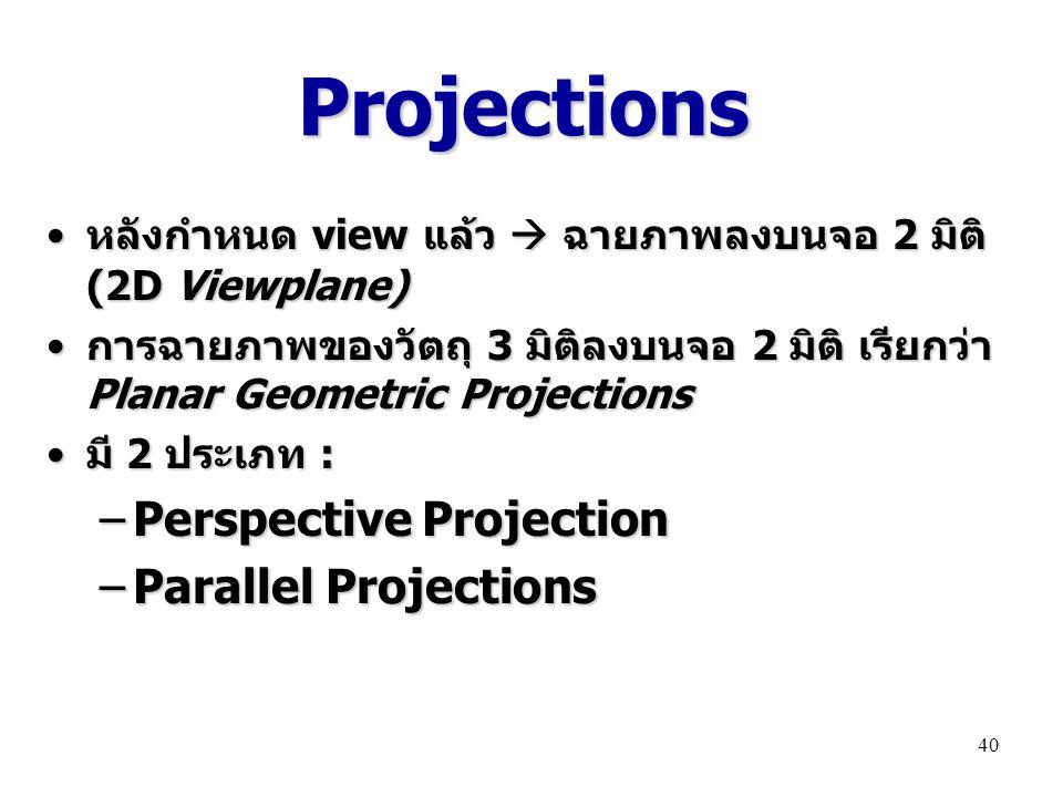 ProjectionsProjections หลังกำหนด view แล้ว  ฉายภาพลงบนจอ 2 มิติ (2D Viewplane) หลังกำหนด view แล้ว  ฉายภาพลงบนจอ 2 มิติ (2D Viewplane) การฉายภาพของวัตถุ 3 มิติลงบนจอ 2 มิติ เรียกว่า Planar Geometric Projections การฉายภาพของวัตถุ 3 มิติลงบนจอ 2 มิติ เรียกว่า Planar Geometric Projections มี 2 ประเภท : มี 2 ประเภท : –Perspective Projection –Parallel Projections 40