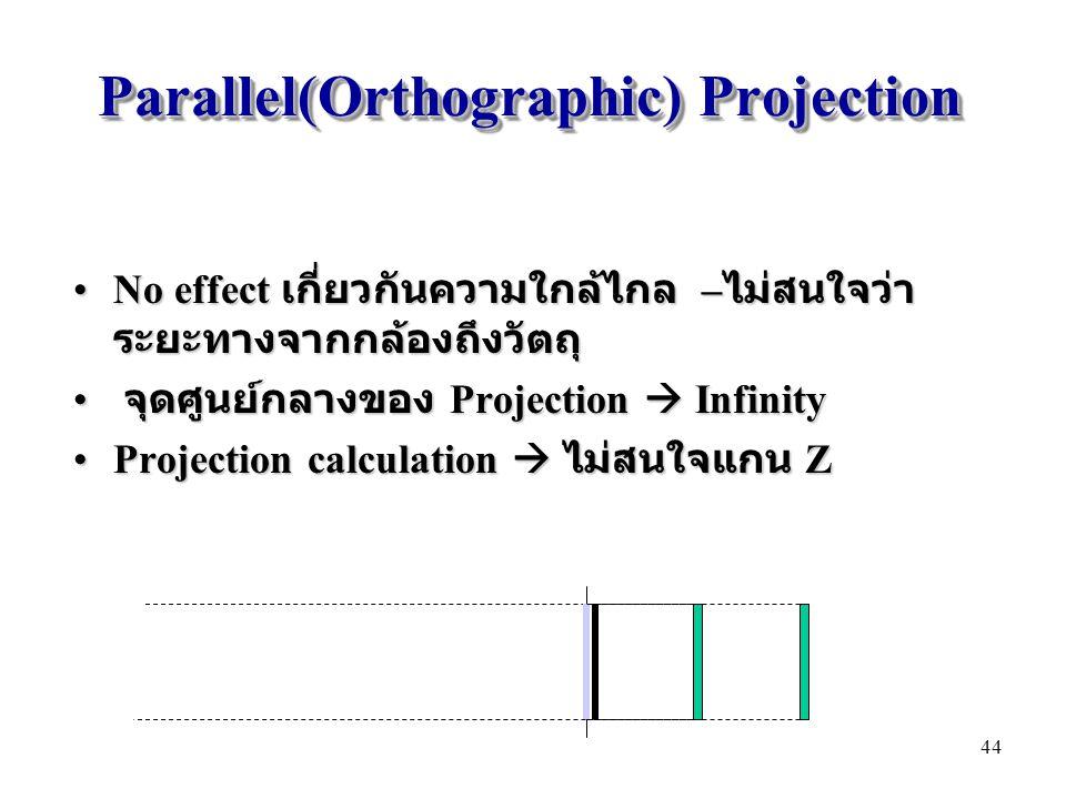 Parallel(Orthographic) Projection No effect เกี่ยวกันความใกล้ไกล – ไม่สนใจว่า ระยะทางจากกล้องถึงวัตถุNo effect เกี่ยวกันความใกล้ไกล – ไม่สนใจว่า ระยะท
