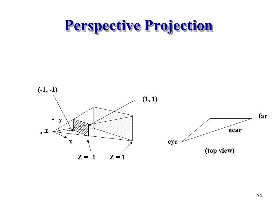 Perspective Projection x y z Z = -1 Z = 1 (-1, -1) (1, 1) eye nearfar (top view) 56
