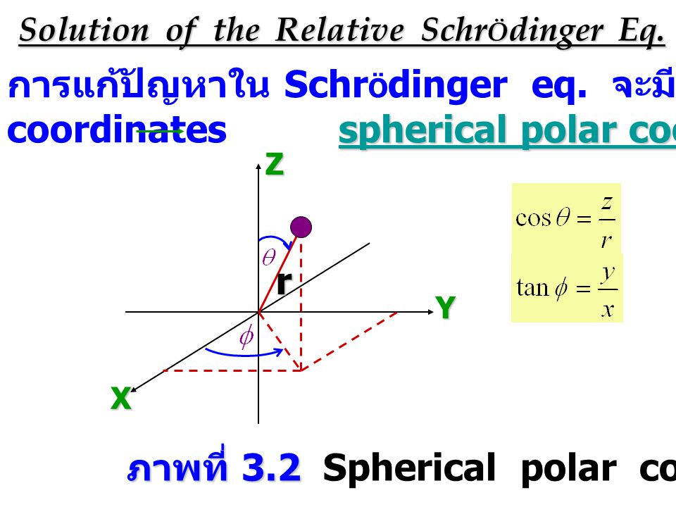 Solution of the Relative Schr Ö dinger Eq. การแก้ปัญหาใน Schr Ö dinger eq.